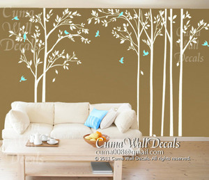 tree wall decal birds wall decals office wall mural nursery wall sticker children wall decals -