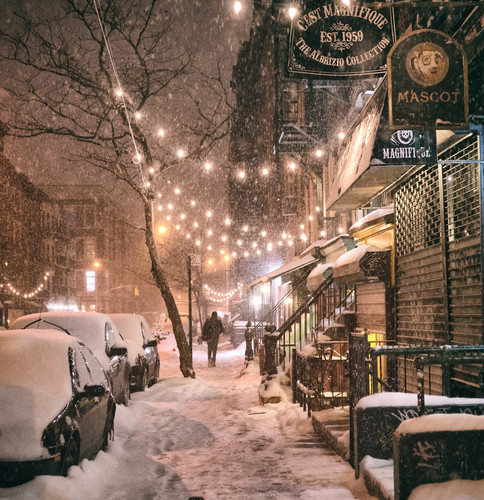 New York Hintergrund With A Straße Called Winter In New York City