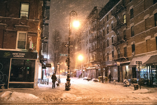 New York Обои with a street, a brownstone, and a row house titled winter in New York City