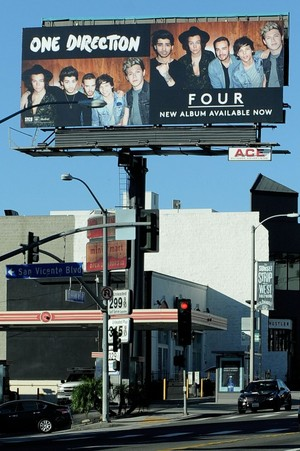 'Four' Billboard on the famous 'Sunset Strip' in Hollywood, Los Angeles.