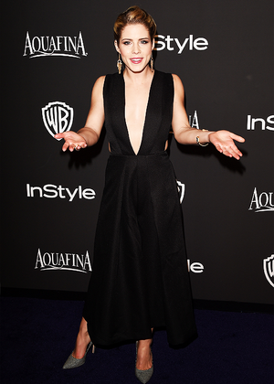 Emily Bett Rickards at the 2015 InStyle And Warner Bros. 72nd Annual Golden Globe Awards Post-Party.