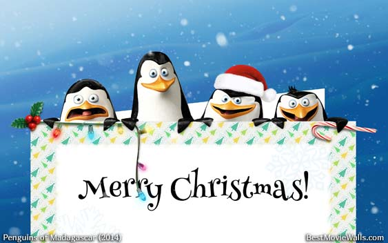 A Christmas wallpaper with Skipper, Kowalski, Rico and ...