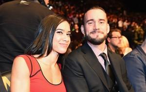 AJ Lee and CM Punk attend a UFC Event