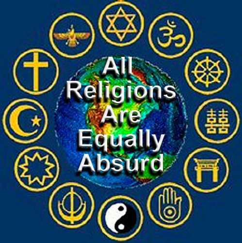 Atheism wallpaper possibly containing a sign called All Religions Are Equally Absurd