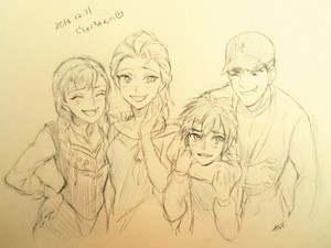 Anna and Elsa with Tadashi and Hiro