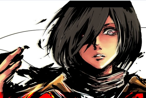 Shingeki no Kyojin (Attack on titan) wallpaper with anime entitled Badass Mikasa