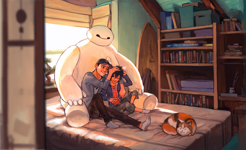 Big Hero 6 Hintergrund possibly with a living room entitled Baymax, Tadashi, Hiro and Mochi