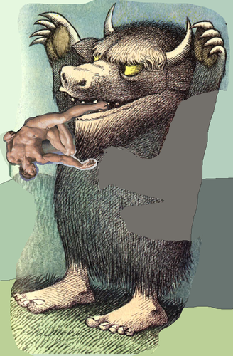 Where The Wild Things Are wallpaper entitled Bull eating a man