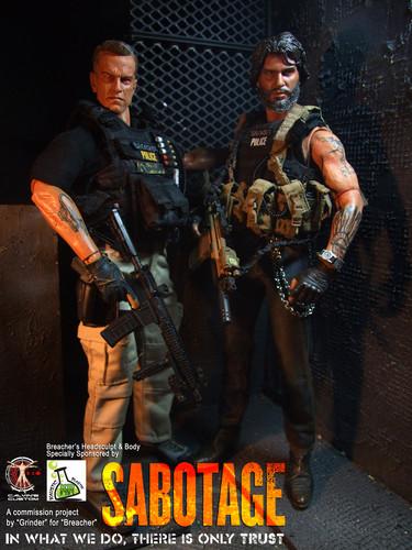 Arnold Schwarzenegger Hintergrund containing a rifleman, a green beret, and a navy dichtung called Calvin's Custom One Sixth Scale Arnold Schwarzenegger as Breacher in Sabotage figure
