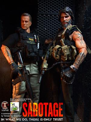 Calvin's Custom One Sixth Scale Arnold Schwarzenegger as Breacher in Sabotage figure
