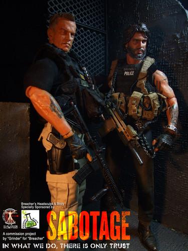 Arnold Schwarzenegger Hintergrund containing a rifleman, a green beret, and a navy dichtung titled Calvin's Custom One Sixth Scale Arnold Schwarzenegger as Breacher in Sabotage figure
