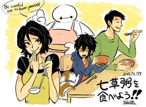 Cass, Baymax, Hiro and Tadashi
