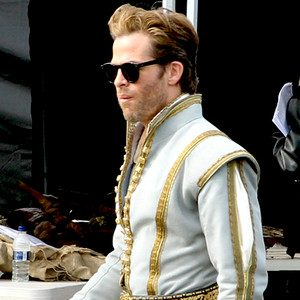 Chris Pine on the set of Into the Woods