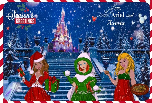 disney crossover fondo de pantalla possibly with anime entitled disney Princess navidad Card