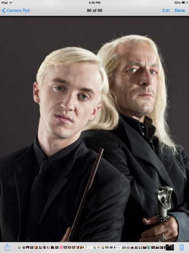 Drago Malfoy karatasi la kupamba ukuta titled Draco Malfoy and Lucias Malfoy in Death Eater uniforms