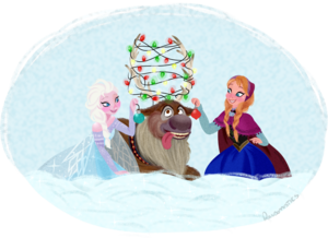 Elsa, Anna and Sven