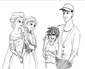 Elsa and Anna with Hiro and Tadashi