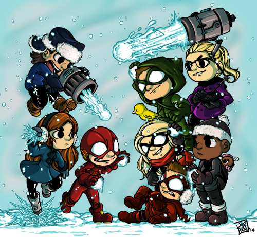 The Flash (CW) fond d'écran with animé entitled Flash vs. Arrow (Snowball edition)