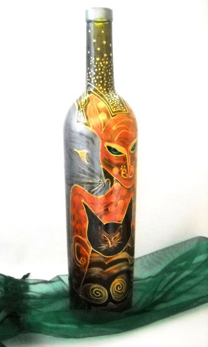 Drawing वॉलपेपर entitled Glass painting-bottle