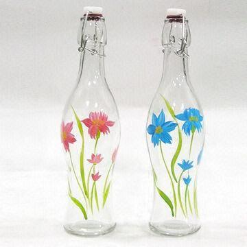 Drawing वॉलपेपर entitled Glass painting-bottles