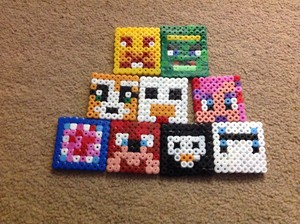 Hama beads stampy and বন্ধু