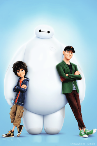 Big Hero 6 Hintergrund titled Hiro, Baymax and Tadashi