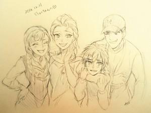 Hiro and Tadashi with Elsa and Anna