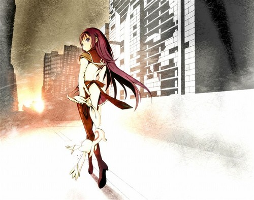 Puella Magi Madoka Magica karatasi la kupamba ukuta possibly with anime entitled Homura in sunset