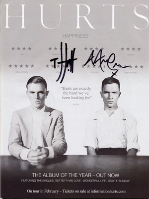 Hurts Happiness poster with autographs
