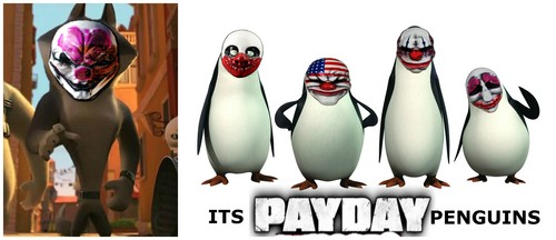 पेंग्विन्स ऑफ मॅडगास्कर वॉलपेपर titled Its Payday, Penguins! (and Wolf)