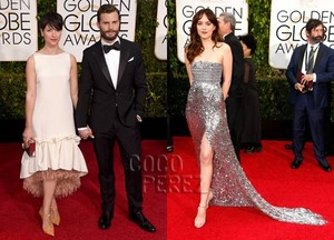Jamie and Dakota,2015 Golden Globes red carpet