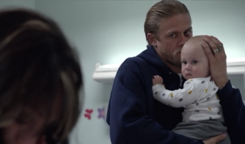 Sons Of Anarchy wallpaper possibly containing a neonate titled Jax and Baby Thomas