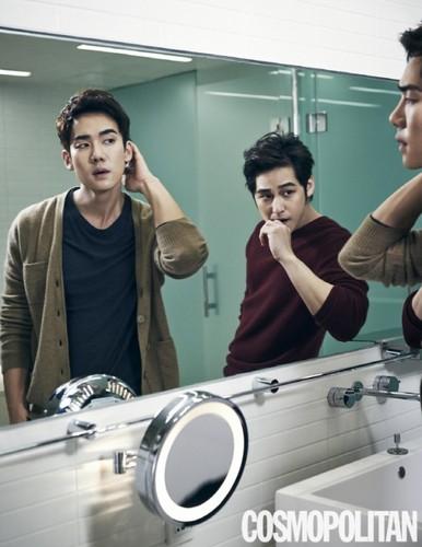 Ким Бом Обои probably with a sign and a проигрыватель, поворотный стол entitled Kim Bum and Yoo Yun Suk for 'Cosmopolitan'
