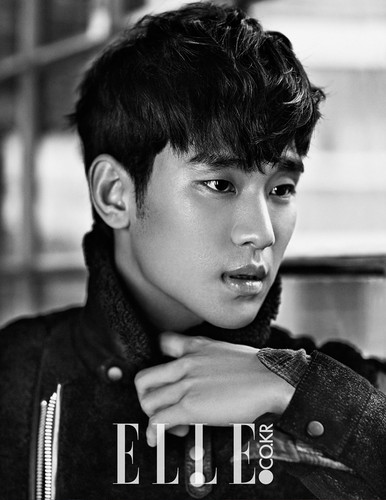 Kim SooHyun wallpaper probably containing a sign entitled Kim Soo Hyun Covers Elle Korea's January 2015 Edition