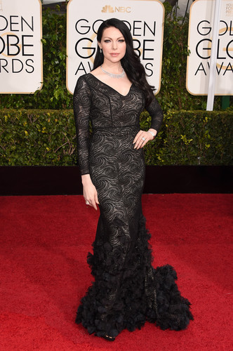 Laura Prepon wallpaper possibly containing an outerwear, a hip boot, and a well dressed person called Laura Prepon - 72nd Annual Golden Globe Awards