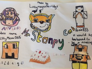 Lucy has made a picture of stampy and his 마인크래프트 helpers