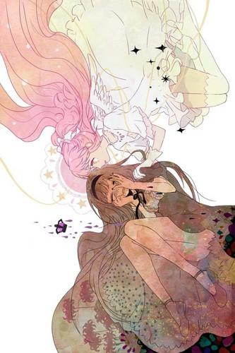 Mahou Shoujo Madoka Magica fondo de pantalla titled Madoka and Homura