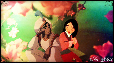 disney crossover wolpeyper with anime entitled Mulan and Aladdin.