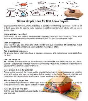 Seven simple rules for first início buyers