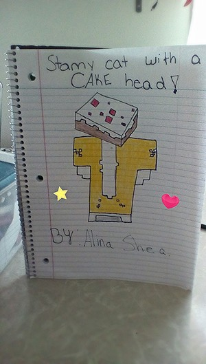 Stampy with a cake head!
