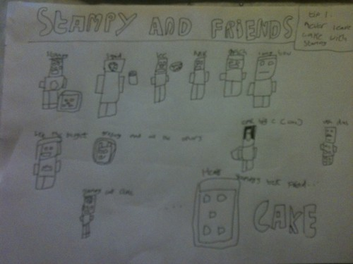Stampylongnose wallpaper with a sign entitled Stampycat and friends by minecraftminion