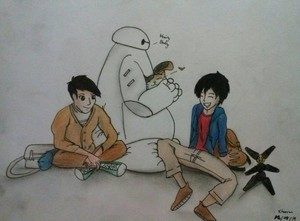 Tadashi, Hiro, Baymax and Mochi