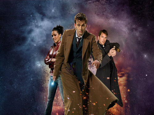 The Tenth Doctor wallpaper possibly containing a fire entitled Tenth Doctor and Companions