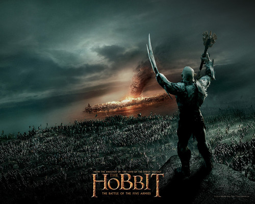 LoHobbit wallpaper with a fontana and a sunset titled The Hobbit: The Battle of the Five Armies - wallpaper