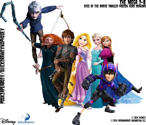 disney crossover wallpaper titled The Mega 7 (Rise of the brave tangled Frozen Hero Dragons)