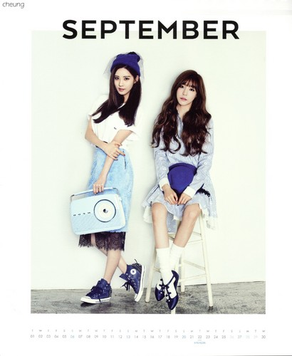 Tiffany Hwang wallpaper possibly with bare legs, a hip boot, and a portrait titled Tiffany and Yuri (SNSD) - 2015 Calendar