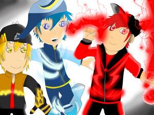 Trio Boboiboy ... Boboiboy kuasa tiga!!!  (Gempa, Taufan, Halilintar)
