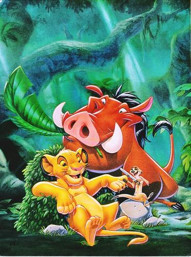 Walt Disney Characters karatasi la kupamba ukuta containing anime called Walt Disney Book picha - Simba, Pumbaa & Timon