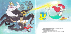 Walt Disney Book تصاویر - Ursula, Flotsam, Jetsam, Prince Eric, Sebastian, فلاؤنڈر, موآ & Princess Ariel