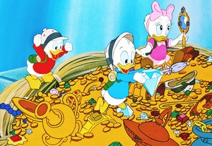 "Walt Дисней Production Cels - Huey Duck, Dewey утка & Webbigail ""Webby"" Vanderquack"